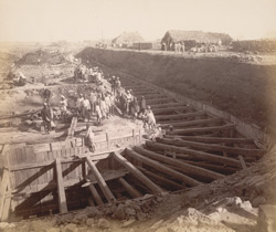 Trench for north wall, middle jetty, looking eastward [Victoria Dock construction, Bombay].